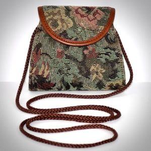 Rolfs Vintage Tapestry Handbag Floral Green Clutch
